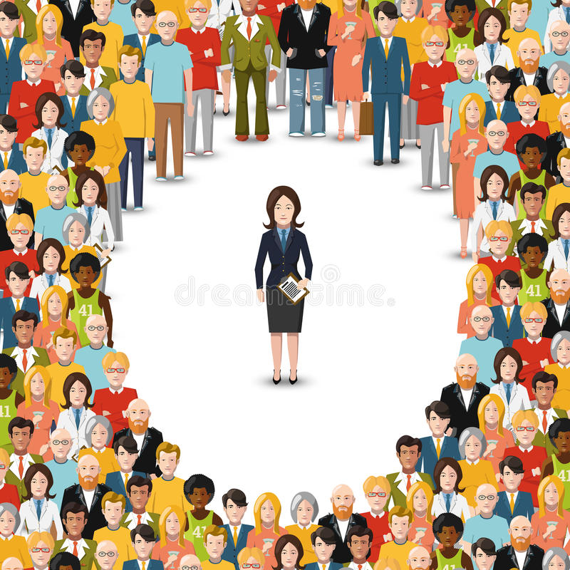Businesswoman stayed apart from crowd, flat illustration on white stock illustration