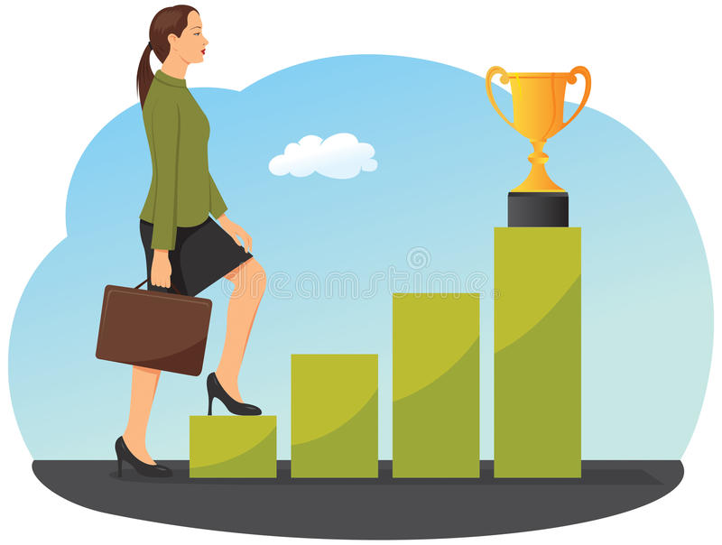 Businesswoman is stepping on a chart bar. Toward a gold trophy cup vector illustration