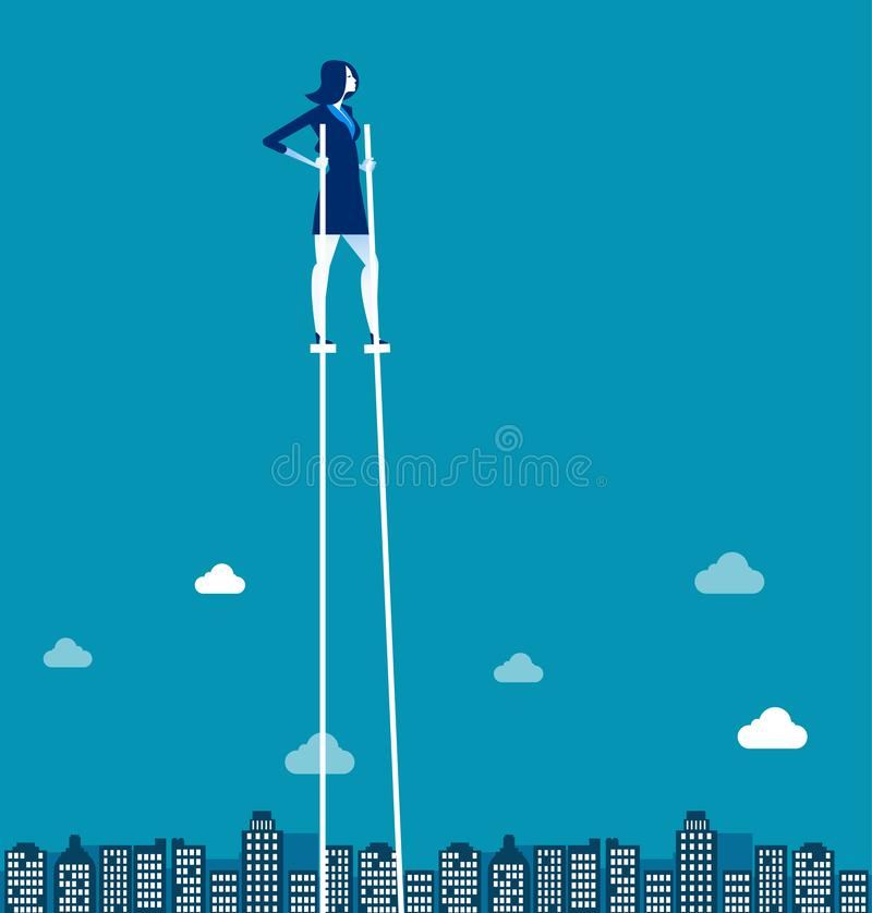 Businesswoman on stilts walking above city. Concept business vector illustration vector illustration