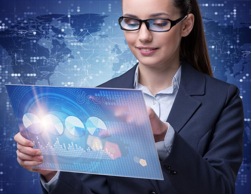 Businesswoman in stock exchange trading concept royalty free stock photography
