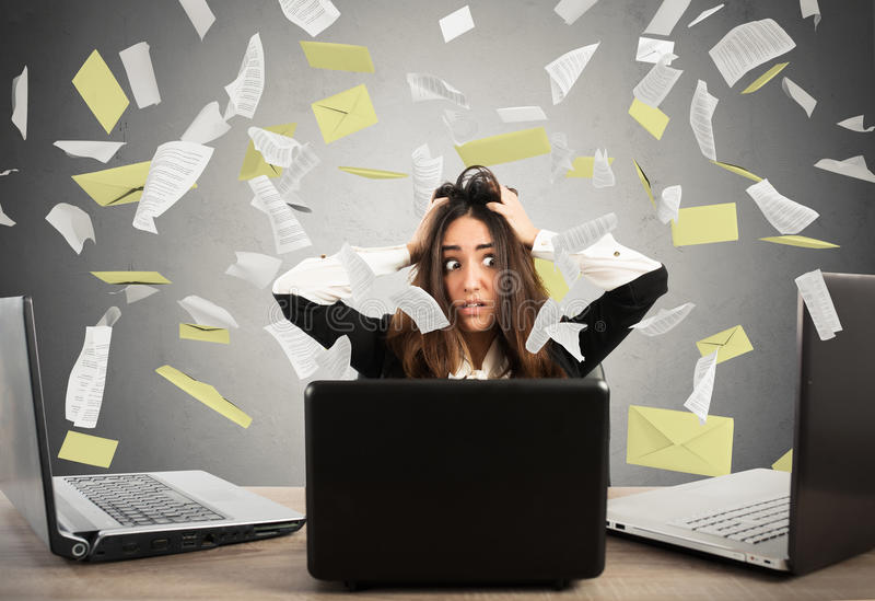 Businesswoman stressed by spam stock photos