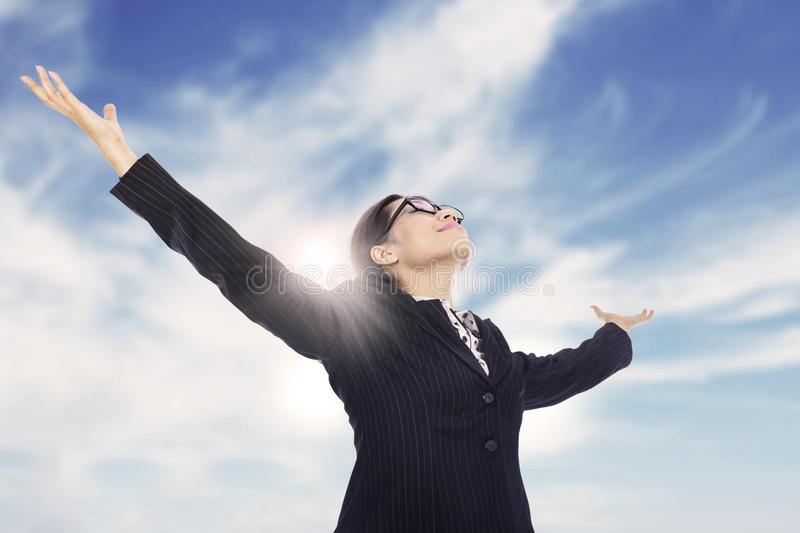 Download Businesswoman Stretch Arms Royalty Free Stock Photos - Image: 27060808