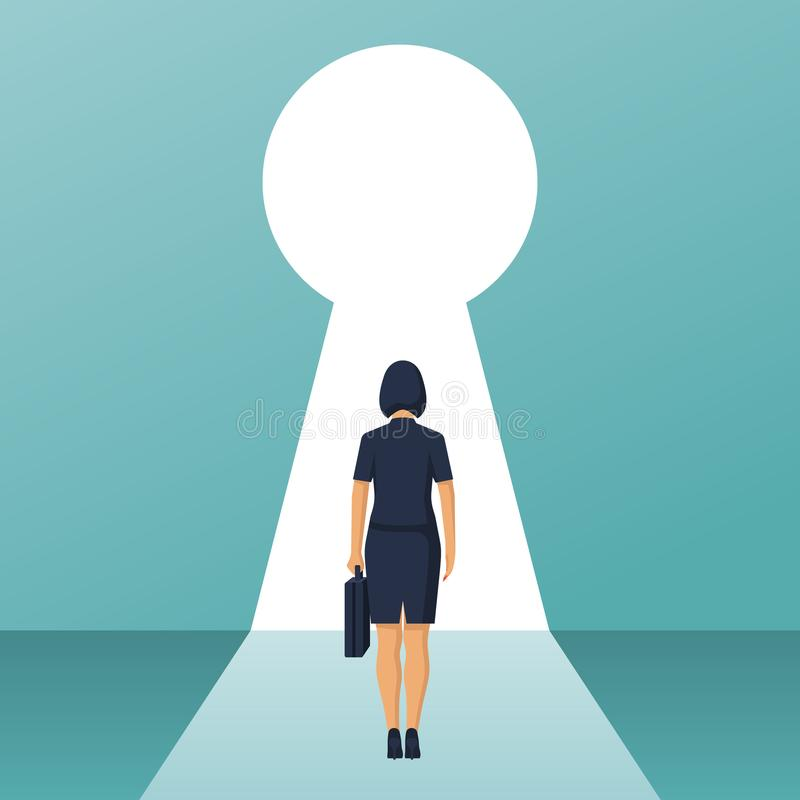 Businesswoman in suit standing in front of keyhole stock illustration