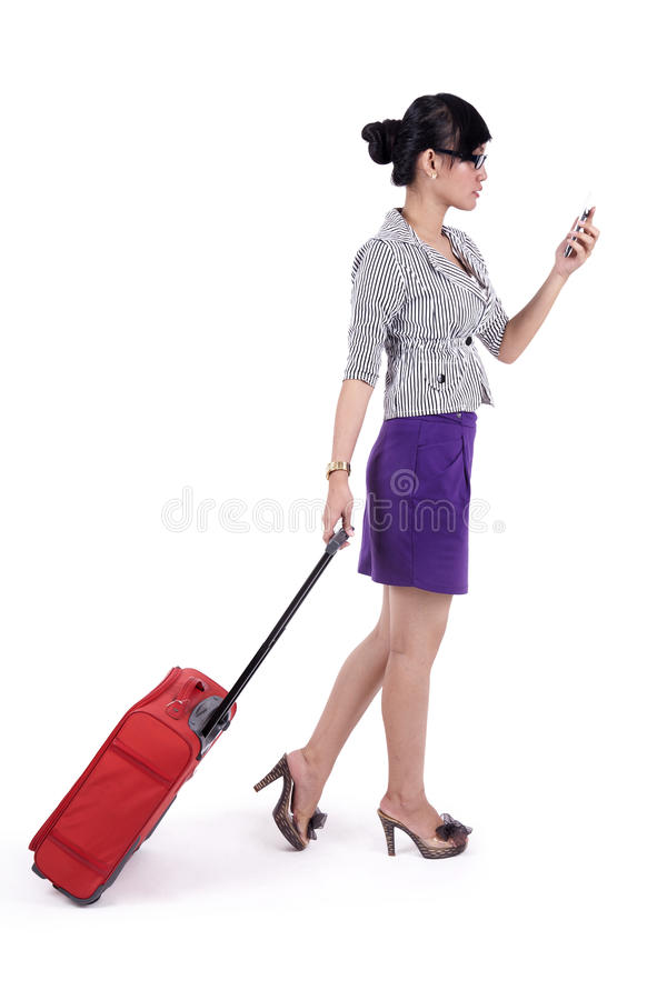 Download Businesswoman With Suitcase And Mobile Phone Stock Image - Image: 24494975
