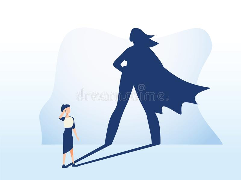Businesswoman with superhero shadow vector concept. Business symbol of emancipation ambition, success and motivation stock illustration