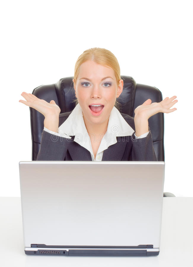 Download Businesswoman in suprise stock image. Image of computer - 9714629