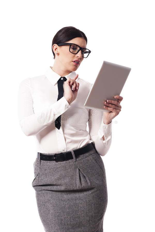 Businesswoman with tablet stock image
