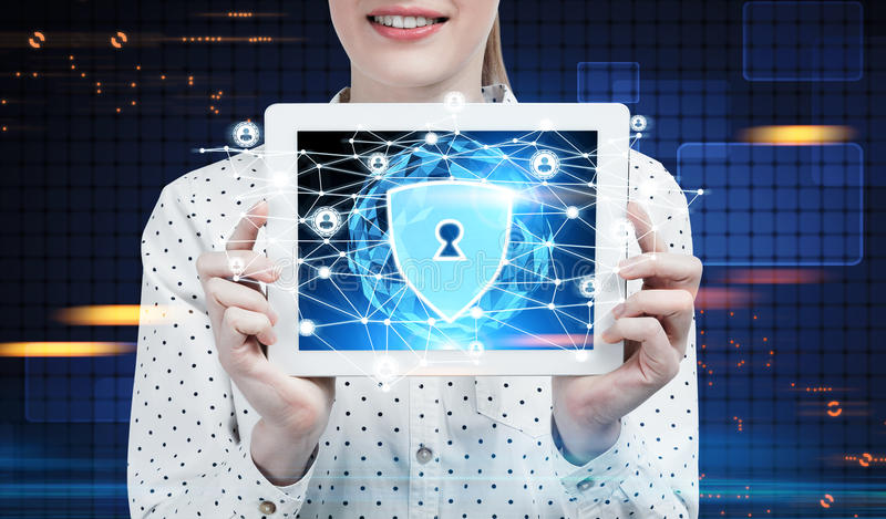 Businesswoman with a tablet, security network stock photos