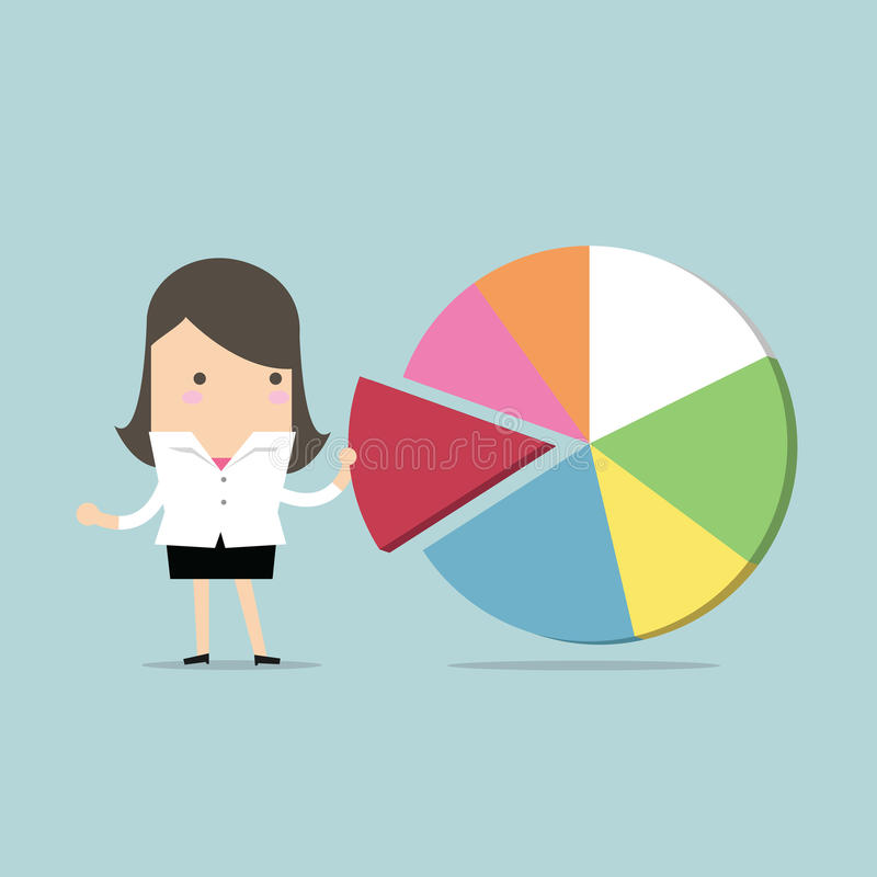 Businesswoman taking away a part of pie chart. Vector illustration royalty free illustration