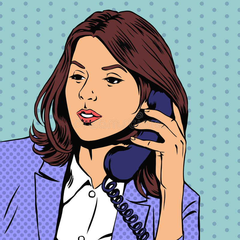 Businesswoman talking on the phone. Vector. Businesswoman talking on phone. Communication telephone, person conversation. Vector illustration in retro pop-art stock illustration