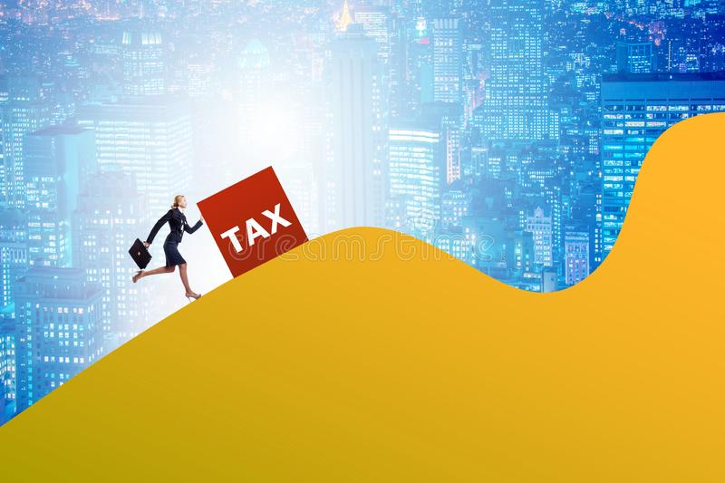 Businesswoman in tax concept on mountain royalty free stock photos