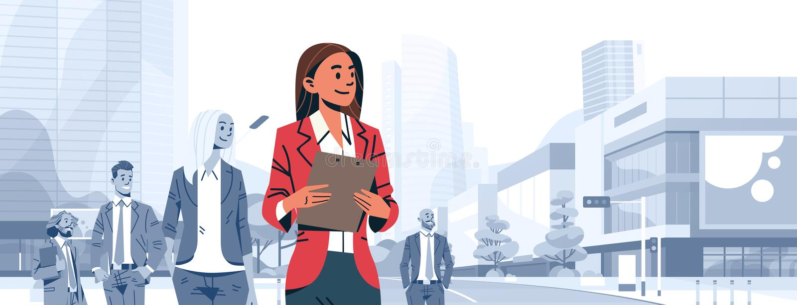 Businesswoman team leader boss stand out business people group individual leadership concept female cartoon character. Portrait cityscape background horizontal stock illustration