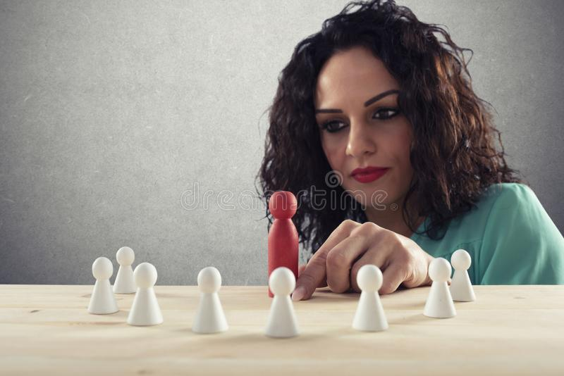 Businesswoman team leader thinks about the strategy of company team. royalty free stock photos