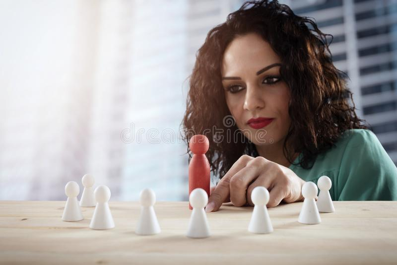 Businesswoman team leader thinks about the strategy of company team. stock images