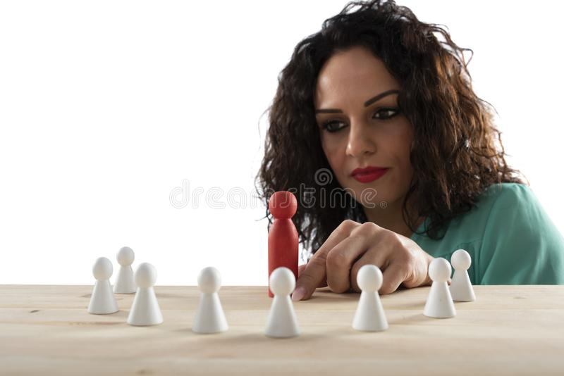 Businesswoman team leader thinks about the strategy of company team. royalty free stock photo