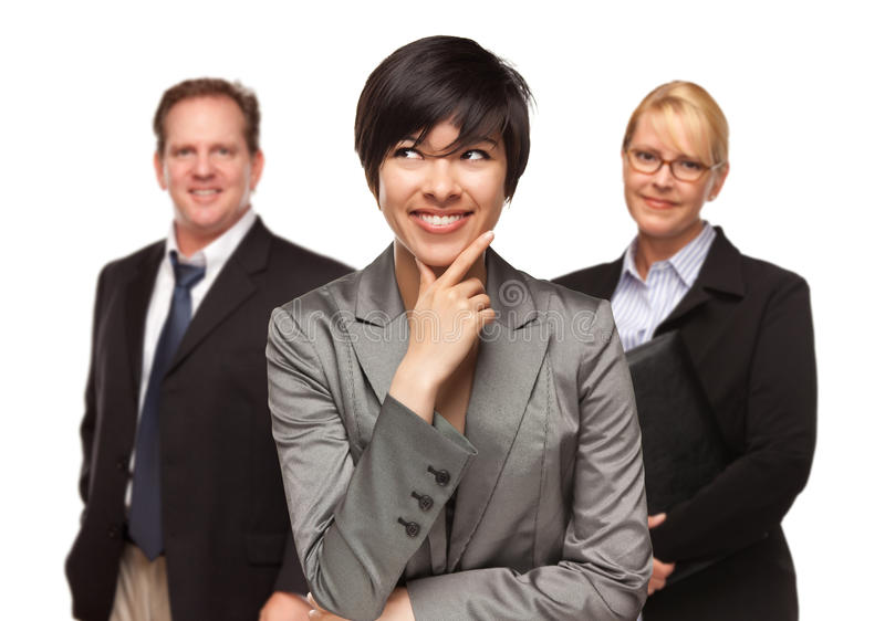 Download Businesswoman With Team Portrait On White Stock Image - Image: 14928231