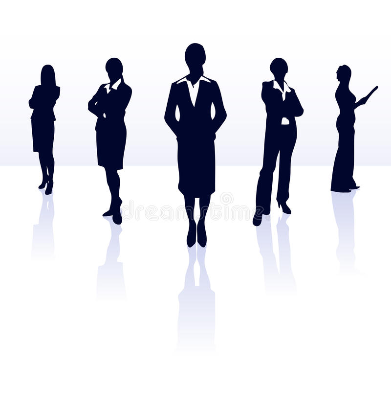 Businesswoman team working silhouette sihlouettes business woman person briefcase standing worker vector people meeting isolated vector illustration