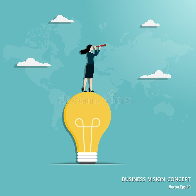 Businesswoman with telescope standing on light bulb royalty free illustration