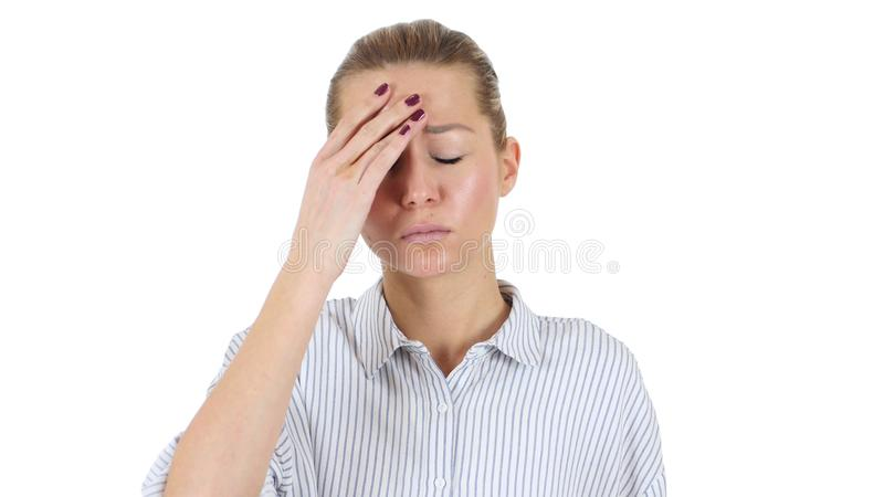 Businesswoman in Tension Holding Head, Headache, White Background royalty free stock photography