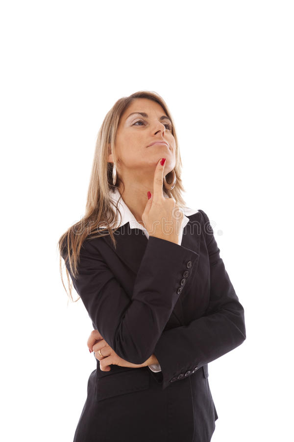 Businesswoman thinking stock image
