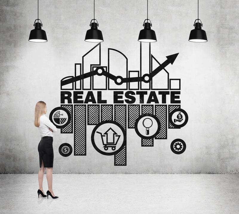 Businesswoman is thinking about opportunities of real estate market. vector illustration