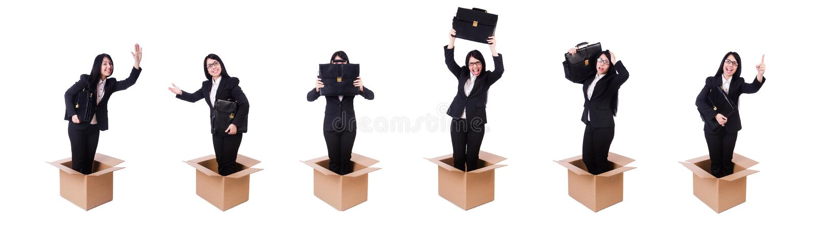 Businesswoman in thinking out of box concept stock photos