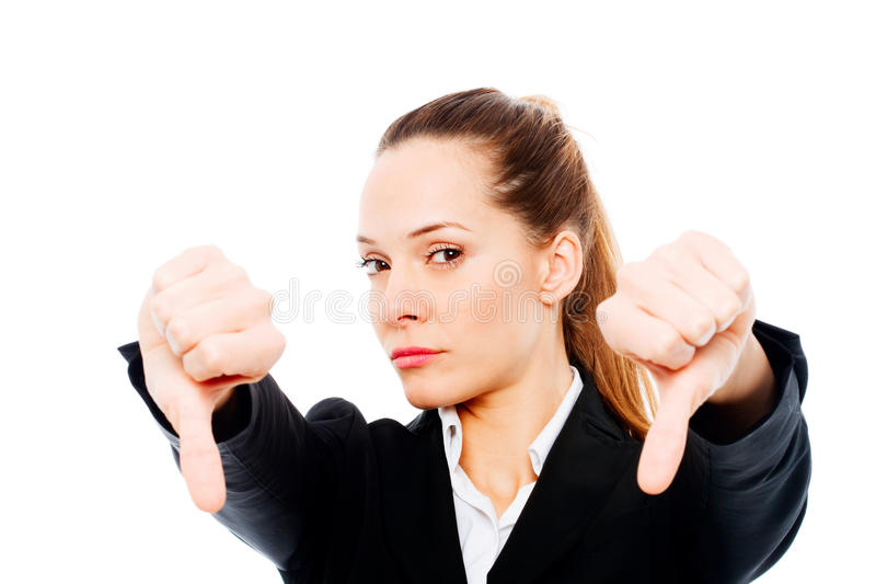 Businesswoman With Thumb Down Royalty Free Stock Image