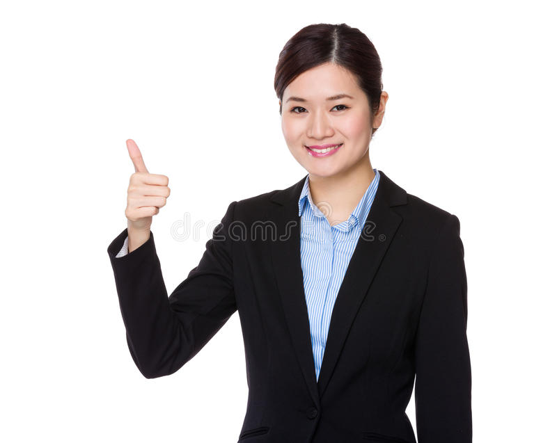 Businesswoman with thumb up. Isolated on white background royalty free stock photos