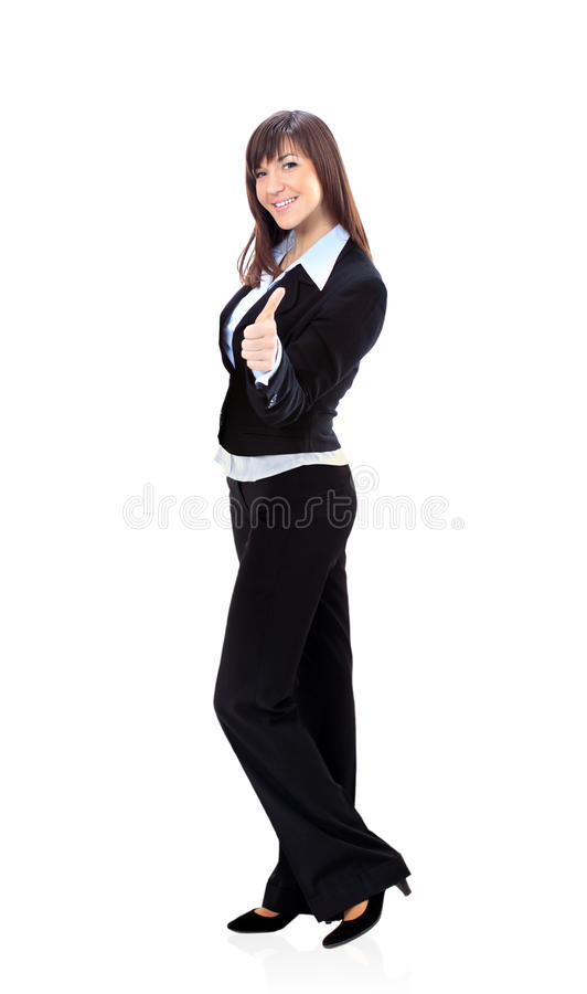 A businesswoman with thumb up sign