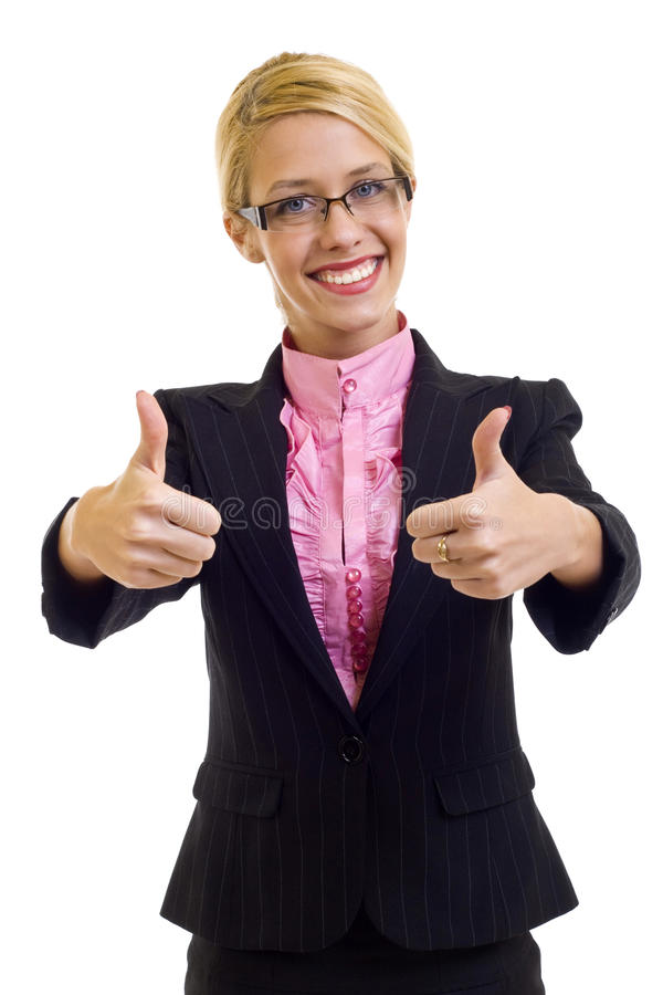 Businesswoman With Thumbs Up stock photography