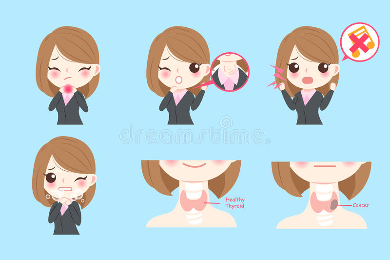Businesswoman with thyroid cancer vector illustration