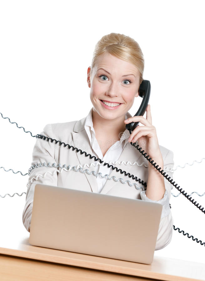 Download Businesswoman Tied With Phone Cord Stock Photo - Image: 25071028