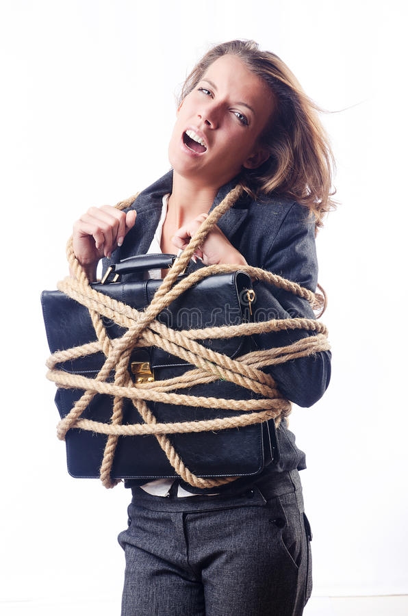 Download Businesswoman Tied With Rope Stock Image - Image: 26631419