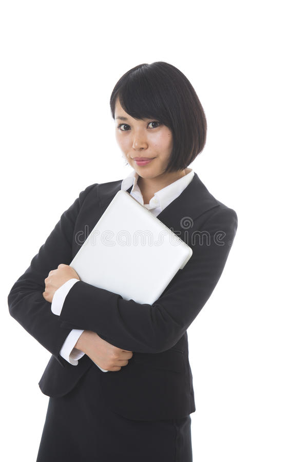 Businesswoman to see a computer stock photo