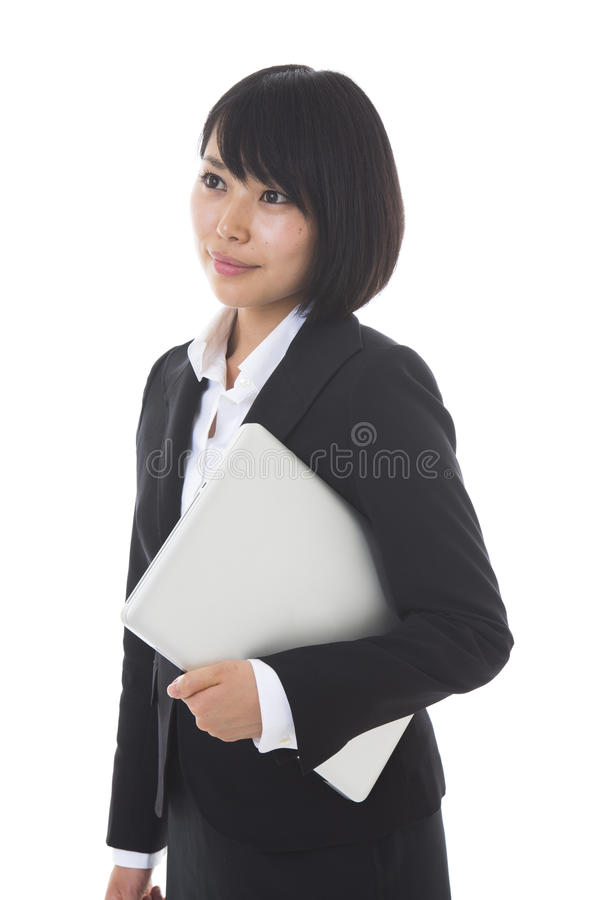 Businesswoman to see a computer royalty free stock image