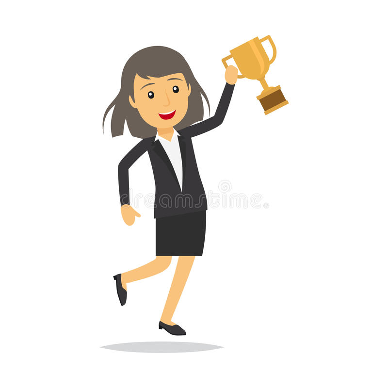 Businesswoman with top honour character vector illustration