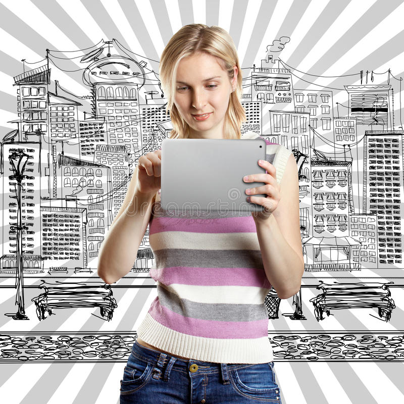 Businesswoman With Touch Pad royalty free stock image