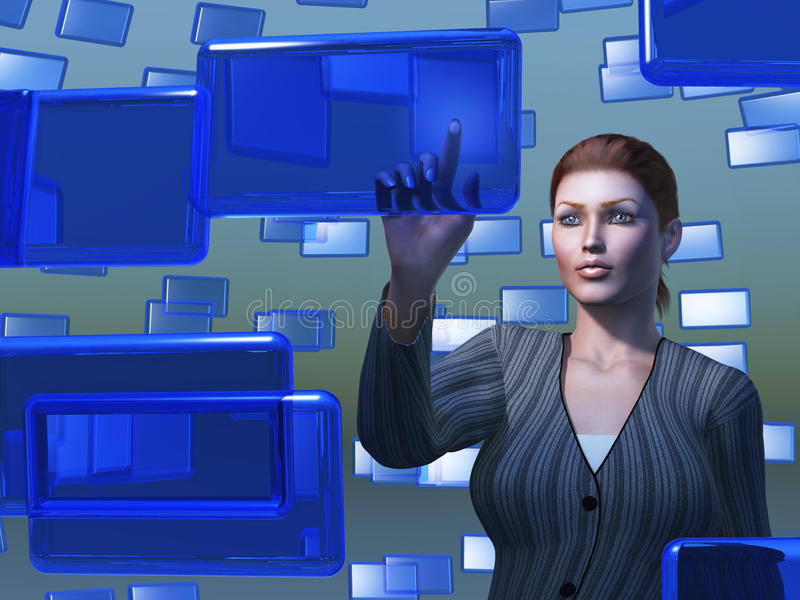 Businesswoman touching blue screen vector illustration