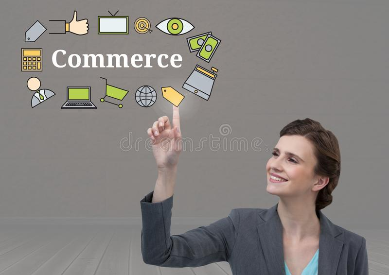 Businesswoman touching Commerce text with drawings graphics stock illustration