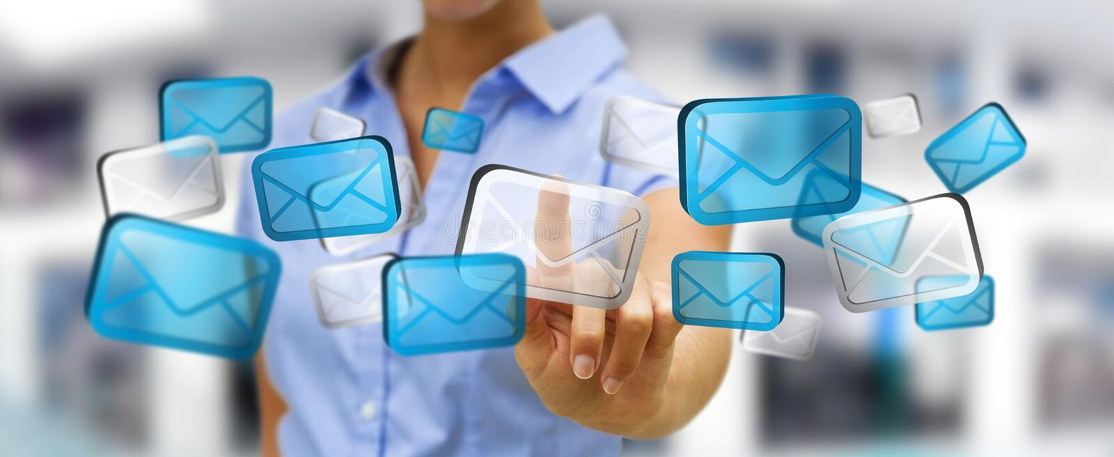 Businesswoman touching digital email icons '3D rendering' royalty free illustration
