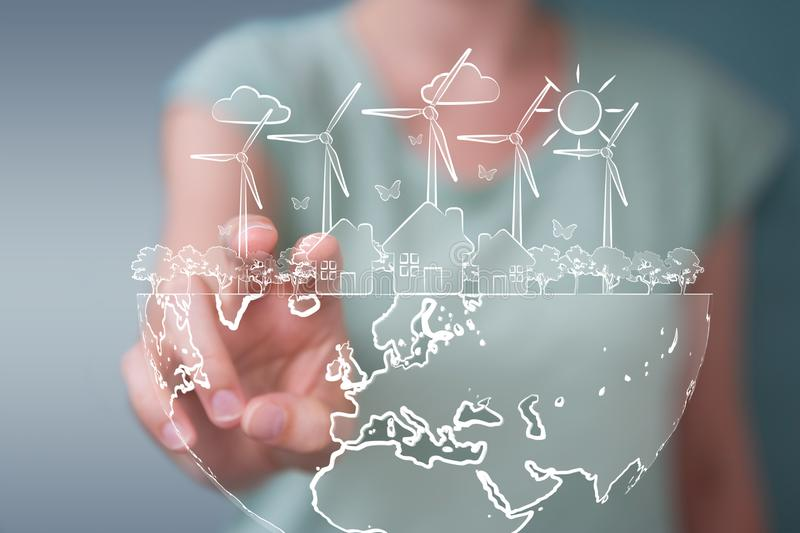 Businesswoman touching and holding renewable energy sketch stock illustration