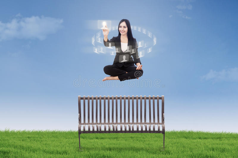 Download Businesswoman Touching Interface Icon Stock Illustration - Illustration: 32210667