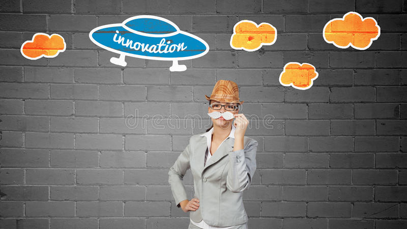 Businesswoman trying paper mustache royalty free stock photos