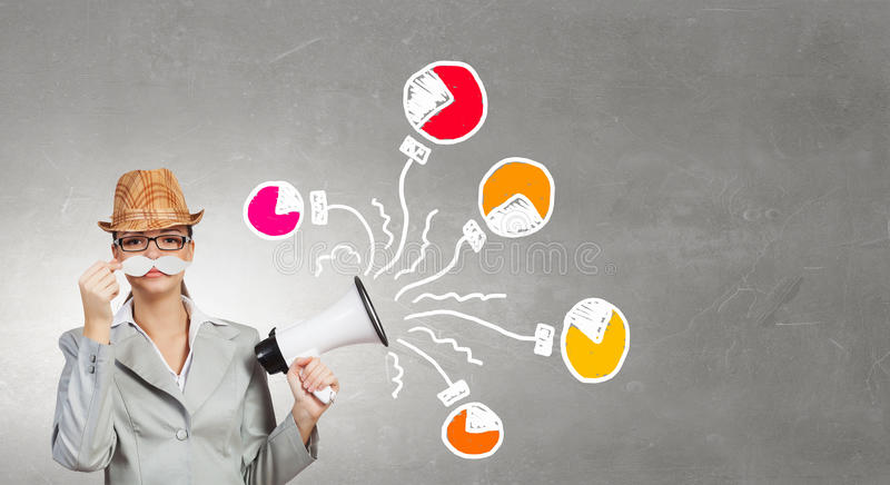 Businesswoman trying paper mustache stock photos