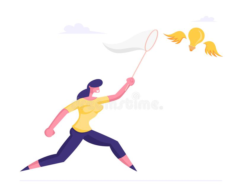 Businesswoman Trying to Catch Flying Light Bulb Chasing it with Butterfly Net. Business Woman Searching Opportunity. Inspiration Creative Idea, Financial stock illustration