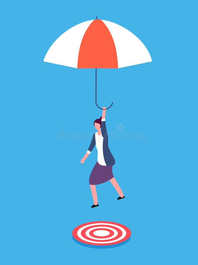 Businesswoman with umbrella aiming on target. Risky business, success and focus vector concept vector illustration