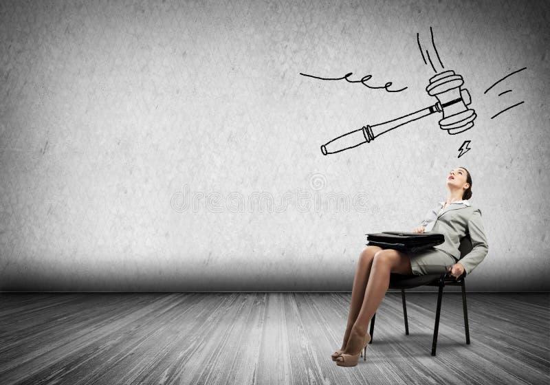 Businesswoman under pressure stock photo