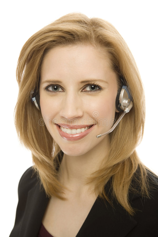 Businesswoman Uses Headset Stock Photography