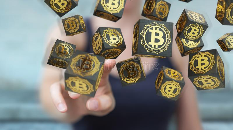 Businesswoman using bitcoins cryptocurrency 3D rendering. Businesswoman on blurred background using bitcoins cryptocurrency 3D rendering royalty free illustration