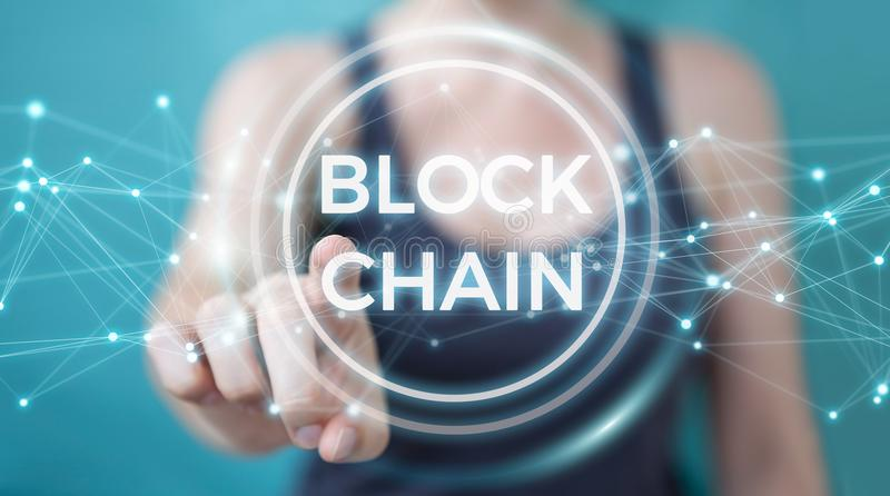 Businesswoman using blockchain cryptocurrency interface 3D rendering. Businesswoman on blurred background using blockchain cryptocurrency interface 3D rendering stock illustration